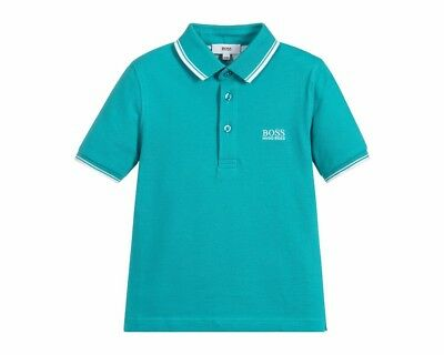 Sale Hugo Boss Kids J25B99 691 Short Sleeves Cotton Boys Polo Shirt Green