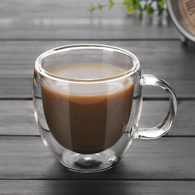 150ML Double Wall Glass Coffee Tea Cup Heat resistant Double Layer Glass +Handle