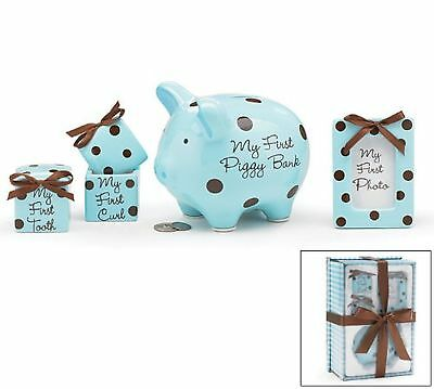 Baby Boy 4 Piece Keepsake Gift Set With Piggy Bank, First Tooth Box,First Cur...