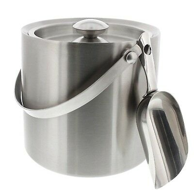 Stainless Steel Double Walled Ice Bucket with Scoop - Barware Serveware for P...