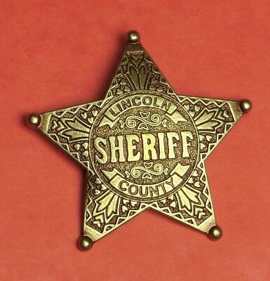 Metall Sheriff-Stern LINCOLN  6,5cm  Western Cowboy Badges Old West Accessoires