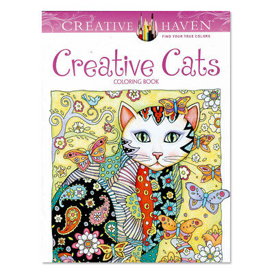 24 page Creative Cats Colouring Book Stress Reliever For Children And Adults