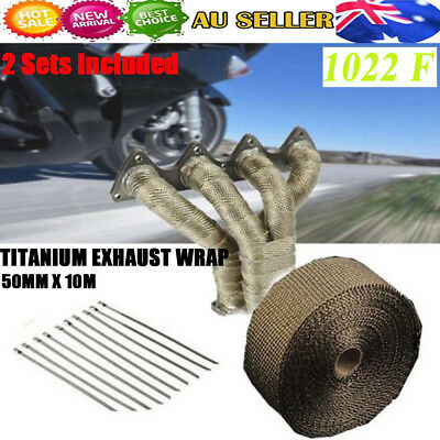 2 Sets WRAP 50MM X 10M + 10 STAINLESS STEEL TIES 1022F TITANIUM EXHAUST HEAT