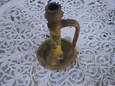 Antique Vintage Verry Rare Ceramic Candlestick Candleholder Beautiful Painted