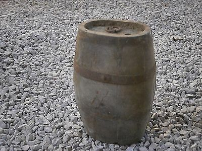 Antique Vintage Wooden Keg Canteen Flask With Patina
