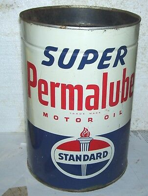 5 qt  oil can Standard Super Permalube-  Both sides shown-