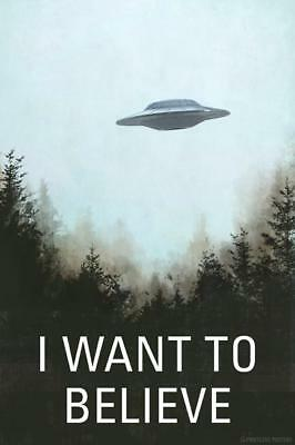 I WANT TO BELIEVE - ALIEN UFO POSTER 12x18 - FUNNY WITTY PP012