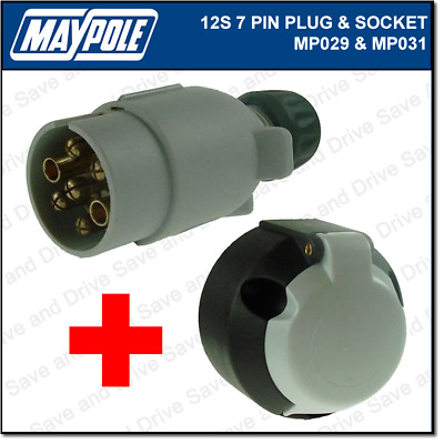 Maypole 12S Plug & Socket Kit 7 Pin Towing Trailer Caravan Connector Electrics