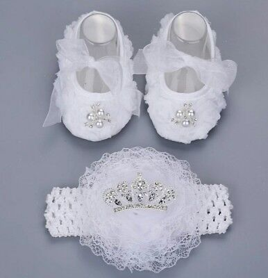 baby girl white christening wedding diamante crystal pram shoes headband set