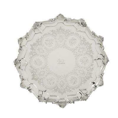 """Antique Victorian Sterling Silver 10"""" Tray/salver - 1858"""