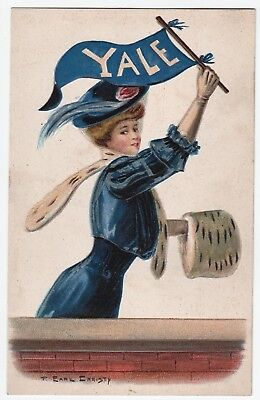 YALE University F Earl Christy Signed Ivy League 1908 Pennant Woman Postcard