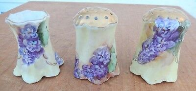 Very Nice Antique BAVARIA 3 Piece Gold Top Hand Painted Flowers S & P & Toothpic