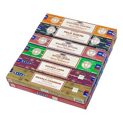12 Variety Pack Satya Genuine Nag Champa Incense Sticks Joss 15g Mixed Scents