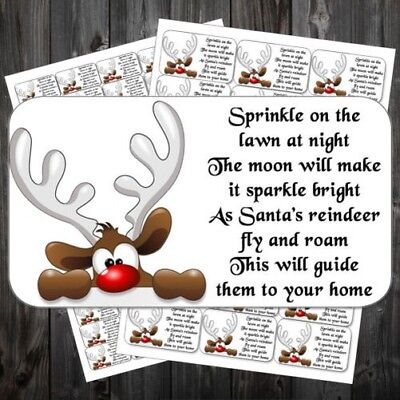 65 Mini Magic Reindeer Food Labels Stickers Christmas Design #abo