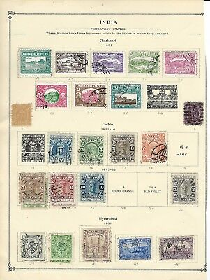 India Feudatory States Used Stamps Lot Cochin Charkhari Hyderabad Patiala