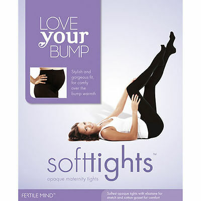 Fertile Mind Black Opaque Maternity Tights Size 1 Mulit Fit- 2016 Version Footed