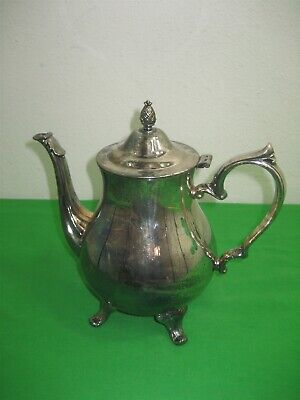 Vintage Antique Silver Plated Metal Coffee 4 Footed Teapot & Flip Lid