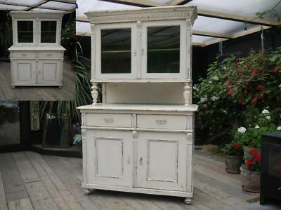 !!!!! Old Victorian Pine Painted Glazed Dresser/sideboard/cupboard - Shabby Chic
