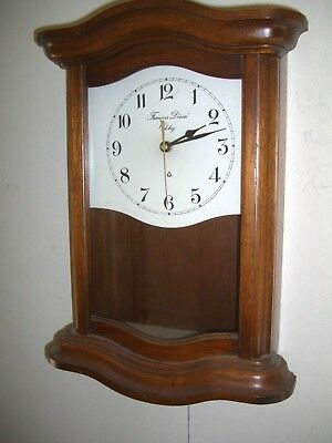 Vintage FRENCH QUARTZ  WALL CLOCK  in Wooden  Frame