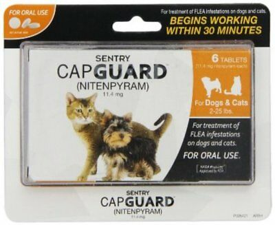 Sentry Capguard Oral Flea Tablets for Small Dogs & Cats (2 to 25 lbs), 6 doses