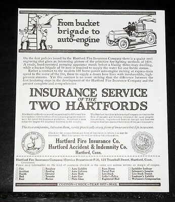 1916 Old Magazine Print Ad, Insurance Services Of The Two Hartfords, Fire, Life!
