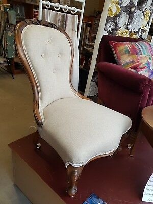 Victorian Buttoned Spoonback Antique Nursing Chair - Re-upholstered