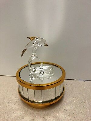 Glass Dolphin Music Box With Mirrored Base Gold Trim New