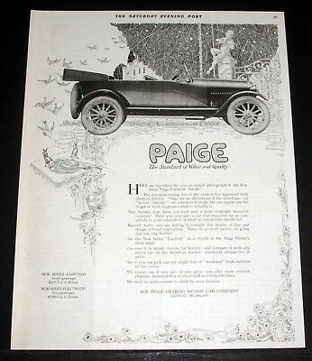 1916 Paige Detroit Motor Car Company Advertisement Advertising-print Advertising