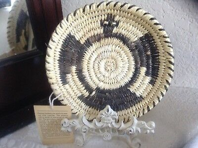 """Vintage Basket Papago New Old Stock 6"""" Diameter Eagle By Anna Miquel"""