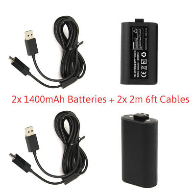 2x 1400mah Rechargeable Battery Pack + 2M Long Cables for XBOX ONE Controller