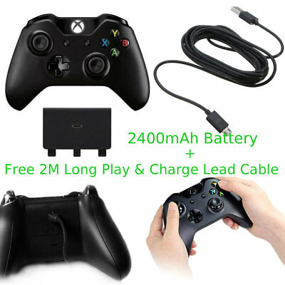 2400mAh Xbox One Rechargeable Battery Kit Pack + 2M 6FT Long Charge Cable Lead