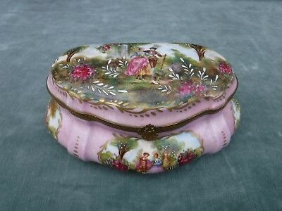 Signed Antique French Hand Painted Pink Porcelain Trinket Jewel Box Large 8""