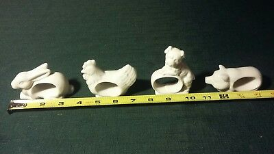 Vintage animal ceramic napkin rings