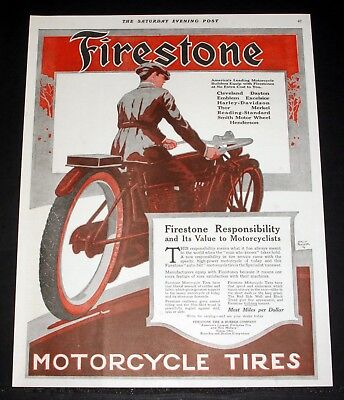 1916 Old Magazine Print Ad, Firestone Motorcycle Tires, Louis Fancher M/c Art!