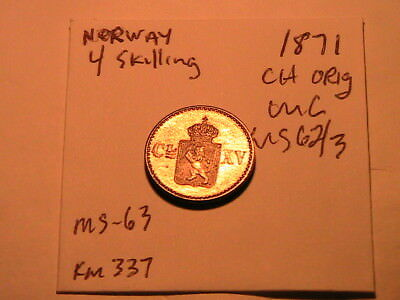 1871 NORWAY 4 Skilling Original light gold toned Unc Norge Four Skilling Coin
