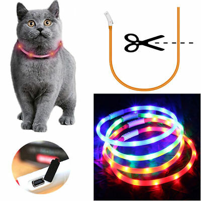 USB Rechargeable Pet Cat Collar LED Adjustable Flashing Light Waterproof Belt