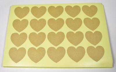 KRAFT STICKERS natural blank heart pk of 40 gift labels seals party bags invites
