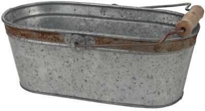 Galvanized Bucket 12 in. x 5.5 in. Rust Trim and Handle Home Decor