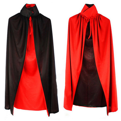 Double Layers Black Red Vampire Cape Reversible Cloak Fancy Costume Halloween
