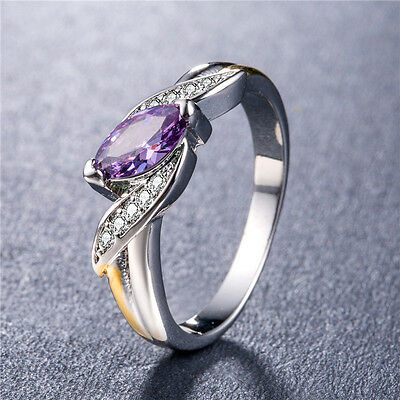 Gorgeous Women 925 Silver Jewelry Marquise Cut Amethyst Wedding Ring Size 6-10