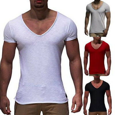 Men Casual Slim Fit V Neck Short Sleeve Muscle Tee T-shirt Sport Tops Blouse TP