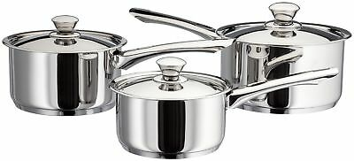 Judge Platina 3 Piece Stainless Steel Induction Saucepan Set 25 Year Guarantee