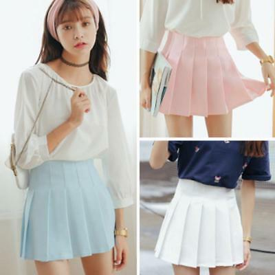 High Waist Pleated Skirts For Ladies Cute Uniform Style Mini Sailor Solid Attire