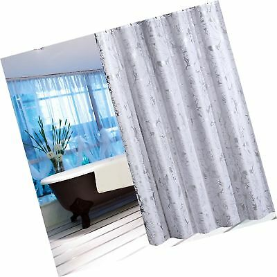 Decorative Extra Long Shower Curtain 72 X 78 Silver Floral Print On White Bac