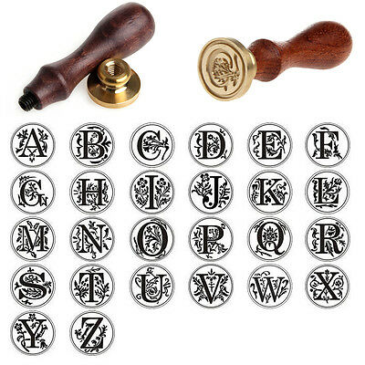 Retro Metal Stamper Sealing Wax Classic Initial Wax Seal Wood Alphabet Letter 2d