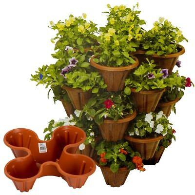 Stackable Plastic 4 Plants Flower Pots Pot Holder Strawberry Herb Planter Garden