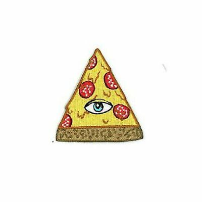 All Seeing Eye Pizza Slice Iron On Patch Embroidered Illuminati Pyramid Third Ev
