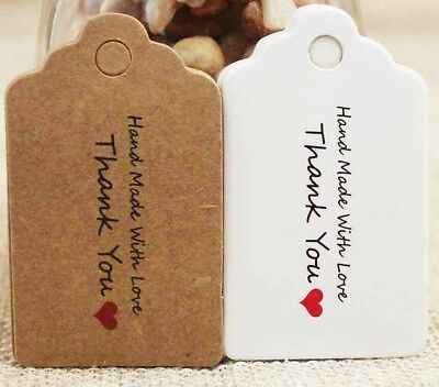 Craft Paper Tags 'HANDMADE WITH LOVE, THANK YOU' Hand Made Gift Tag 5x3cm