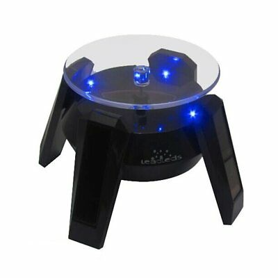 Solar Powered LED Lights Rotating Display Holder Stand Turntable Glass Top New