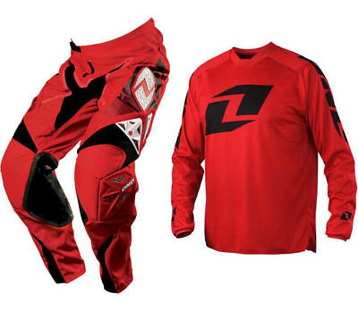 One Industries Motocross Mx Kit Defcon Race Red Pants + Icon Red Jersey